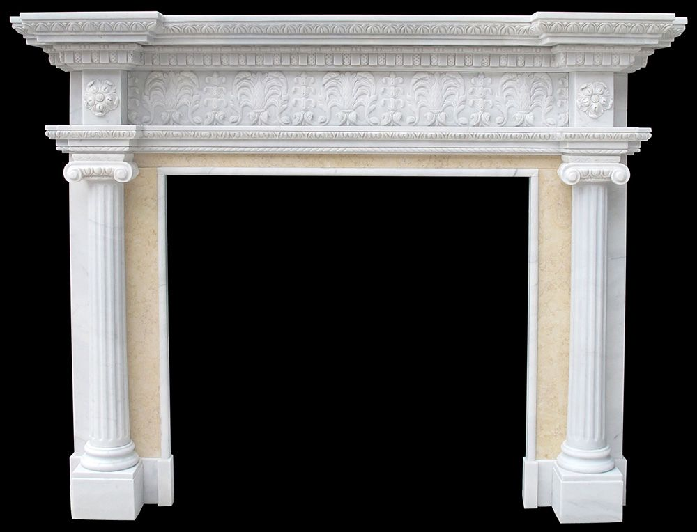 Marble Fireplace Surround Travertine Italian Arabesco Sandstone Facings Mantel With Columns
