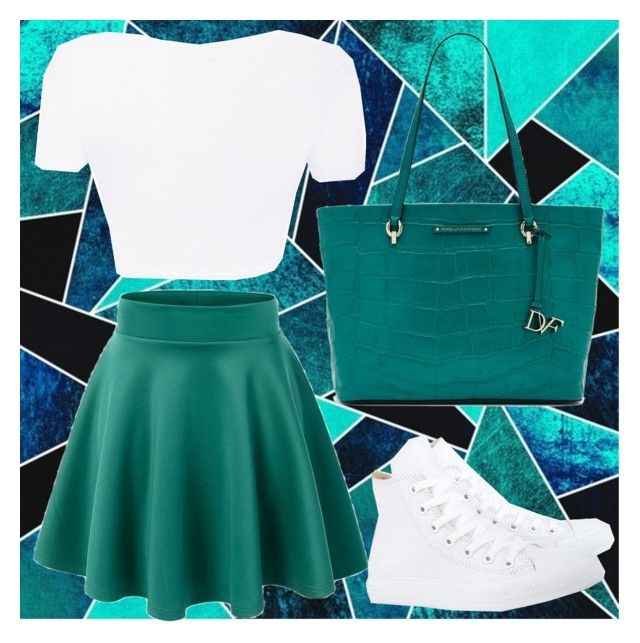 """""""white and teal"""" by almost-harley ❤ liked on Polyvore featuring Converse and Diane Von Furstenberg"""
