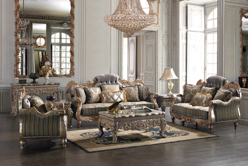 Cersei Silver 3 Piece Living Room Sofa Set