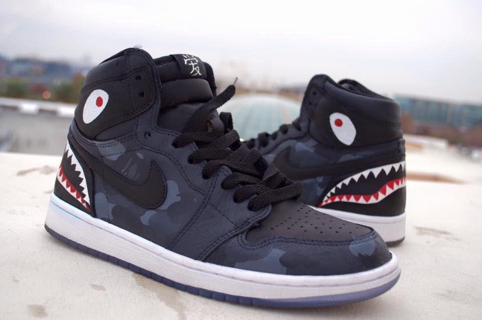 Custom Air Jordan 1 Bape Shark   Custom
