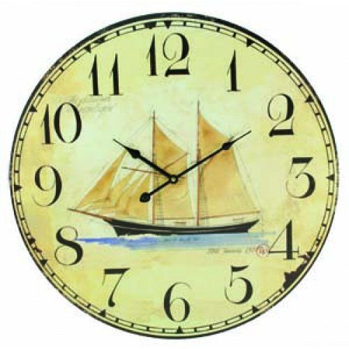 Sailing Schooner Coastal Decor Extra Large Wall Clock - 23-in, http ...