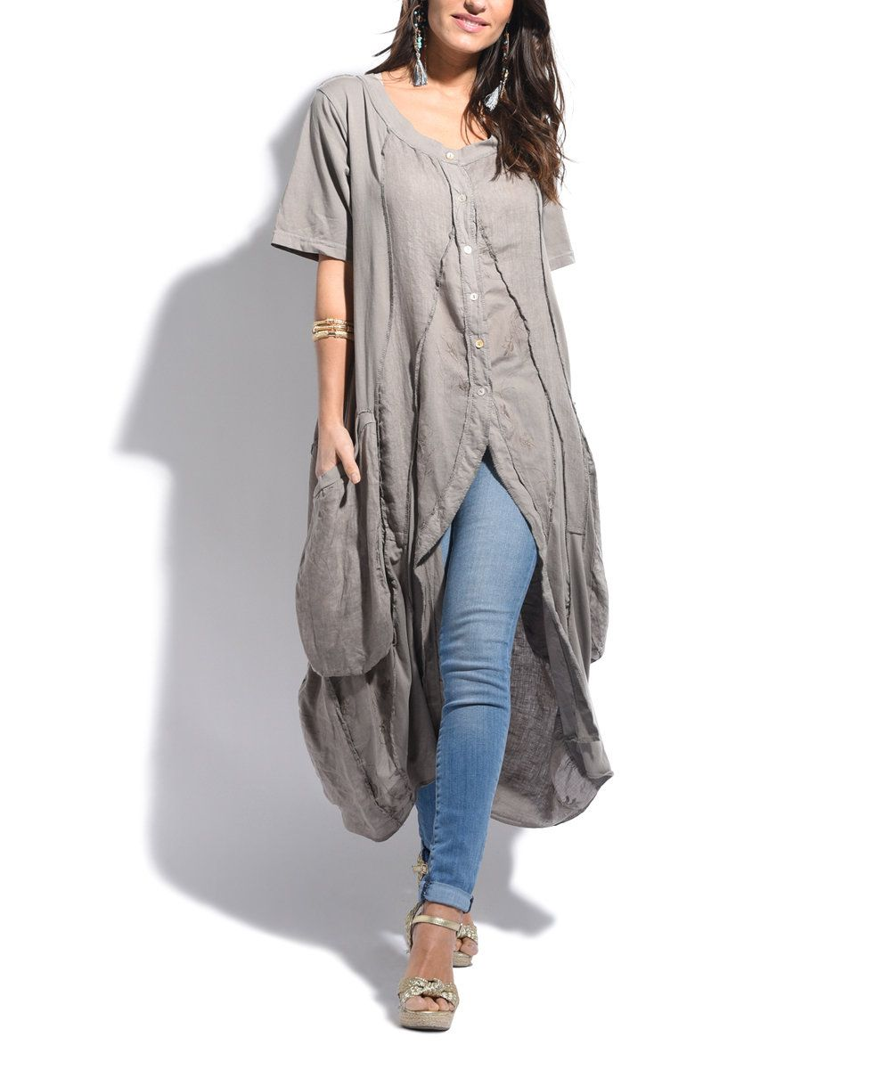Look at this Taupe Linen Hi-Low Tunic on #zulily today!