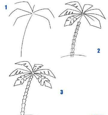 palmeras para dibujar tropicales | Dibujos del medio ambiente en ...