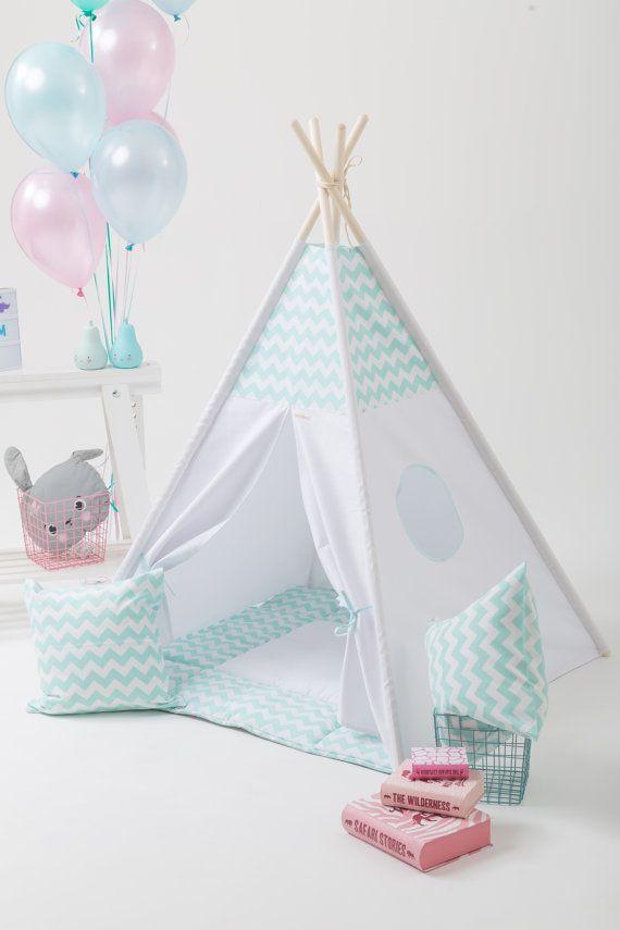 teepee set with poles and mat mint chevron b b pinterest chevron menthe et tipi enfant. Black Bedroom Furniture Sets. Home Design Ideas