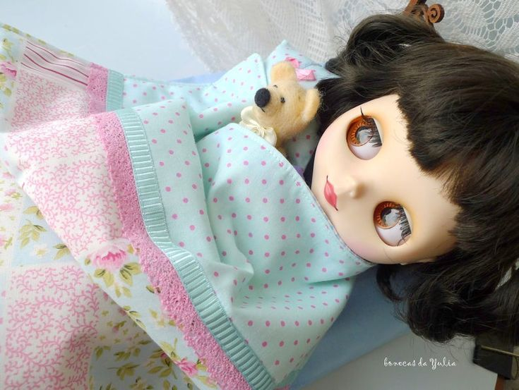 Blue pink doll bedding set 6 pcs Barbie Monster high Blythe Bratz 1/6 bjd 12 inches Doll bed clothes blanket pillow mattress set Doll house #bearbedpillowdolls
