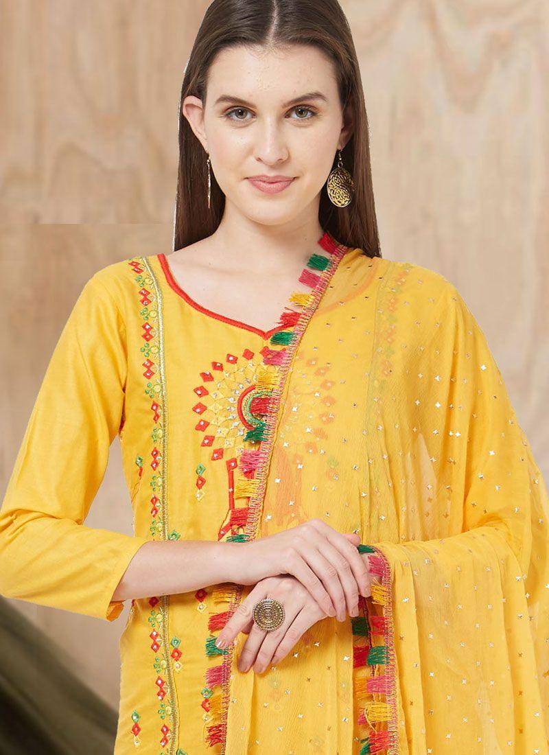 948b5cf2acd Yellow Casual Cotton Churidar Suit