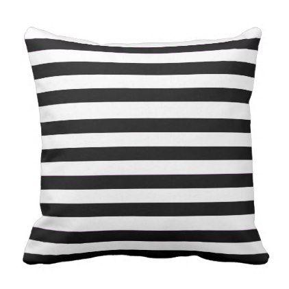 White Solid Stripes Throw Pillow