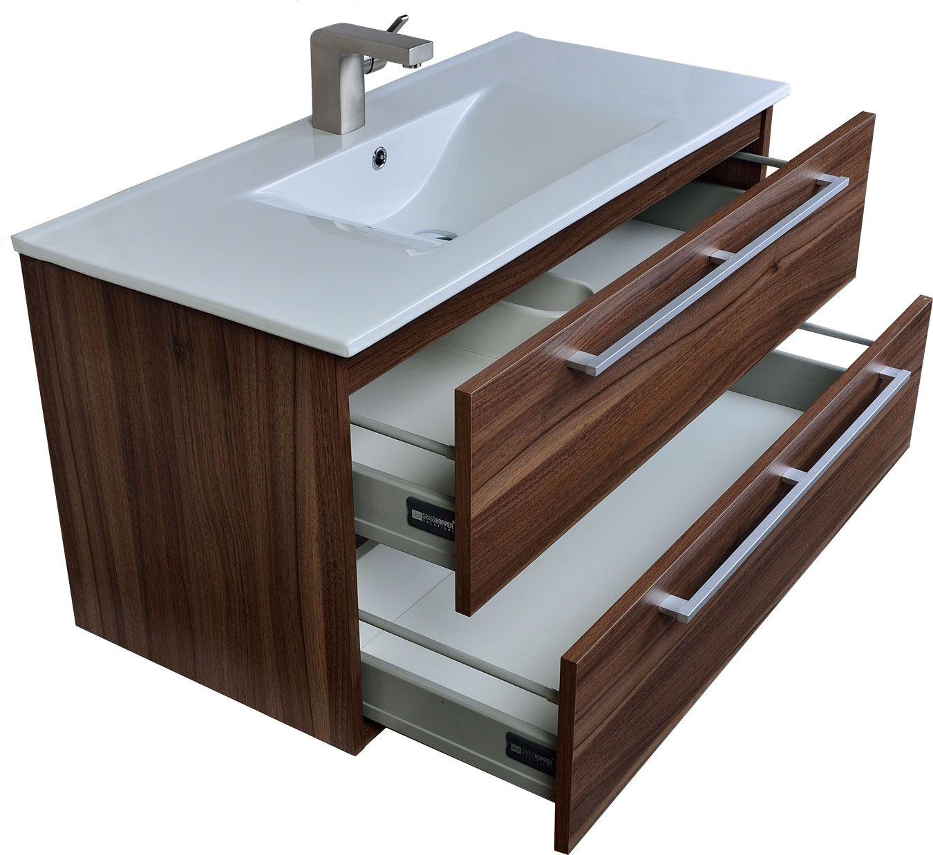 Caen 40 Wall Mount Modern Bathroom Vanity Set In Walnut Optional