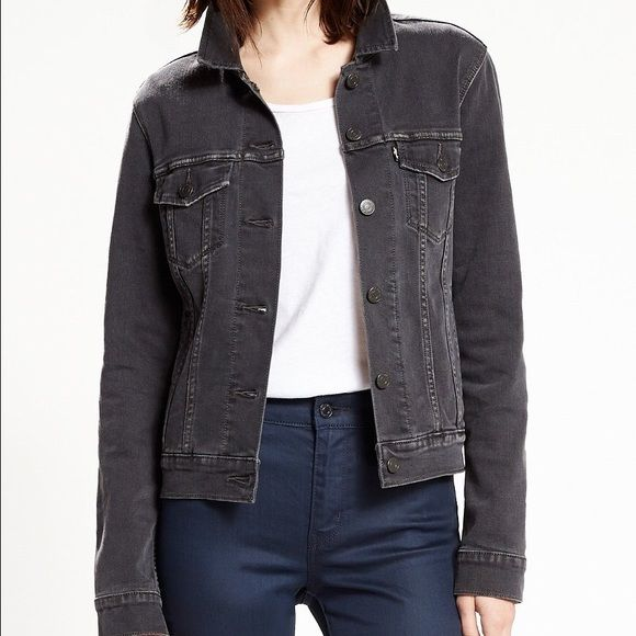 Levi trucker jacket women's It's a genuine Levi Women's Trucker jacket in a dark gray, that fits a size S/M Levi's Jackets & Coats Jean Jackets