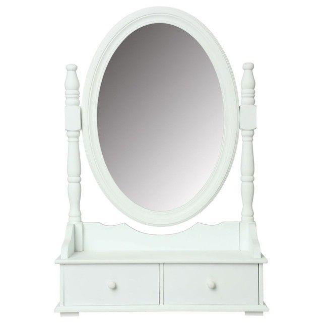 Coiffeuse range bijoux avec tiroirs et miroir - 50 x 75 cm ...