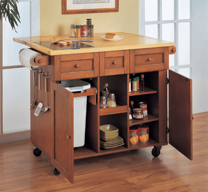 Wooden Kitchen Island With Trash Bins On Wheels Kitchen In 2019