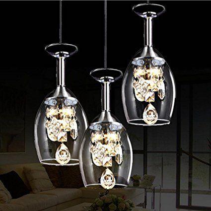 3 kreative Kristall Weingläser LED Anhänger Licht Glas Kronleuchter