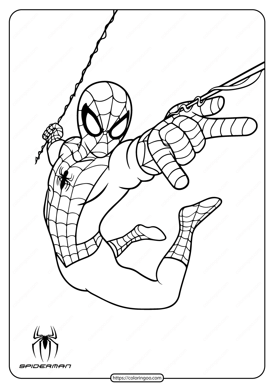 Printable Spiderman In Action Coloring Page Spiderman Coloring Coloring Pages Cartoon Coloring Pages