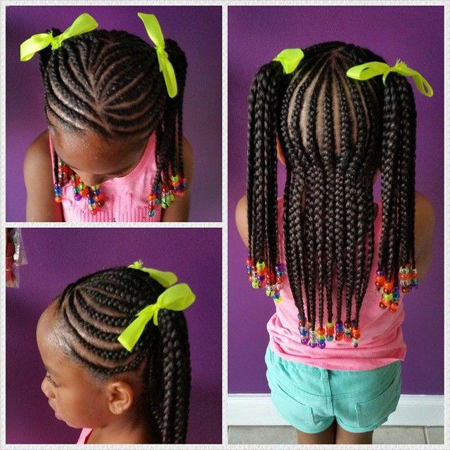 cornrows in ponytails little girl