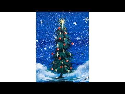 Simple Christmas TREE Step by Step Acrylic Painting on Canvas for