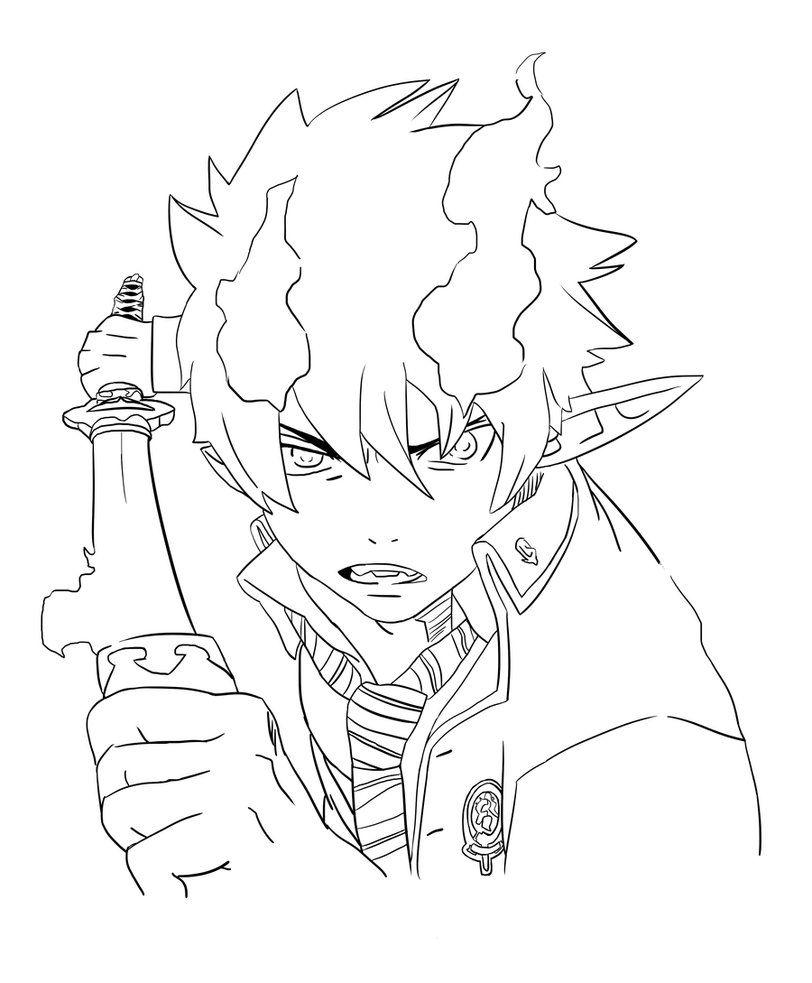 Rin Okumura Lineart By Xxguntaxx Deviantart Com On Deviantart Mini Drawings Anime Character Drawing Drawing Anime Bodies