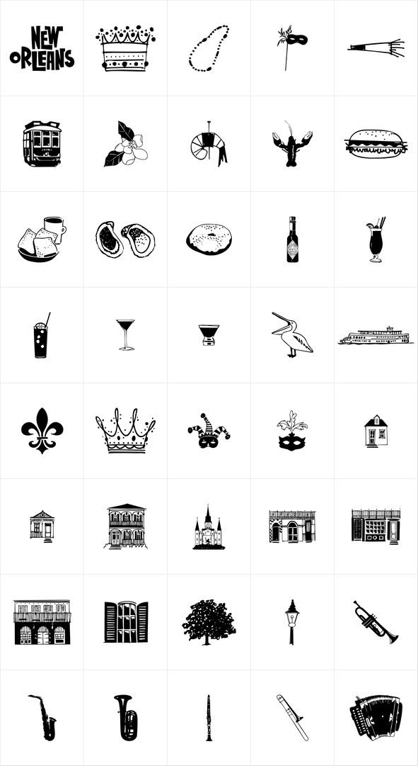 New Orleans Doodles Symbol Icon Fonts Pinterest Tattoos New