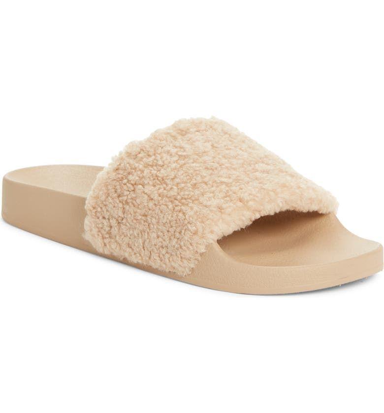 Steve Madden Shear Faux Shearling Slide Slipper (Women) | Nordstrom in 2020 | Womens slippers, Slide slipper, Slippers