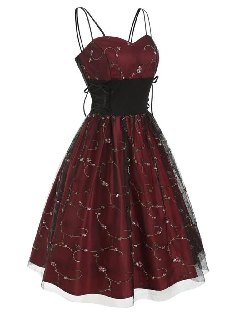 Photo of Wine Red 1950s Lace Up Embroidery Dress