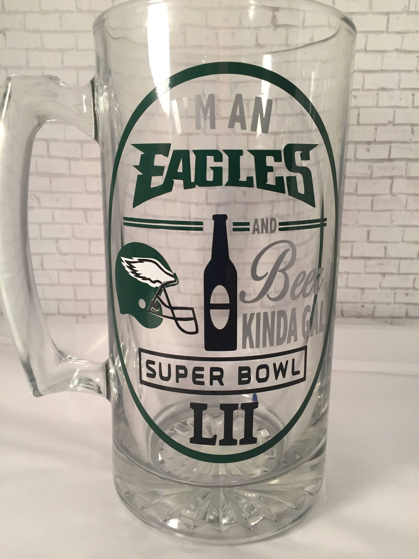 7c1a0c1282f SUPER BOWL 52 Philadelphia Eagles 25oz. Glass Beer Stein mug -