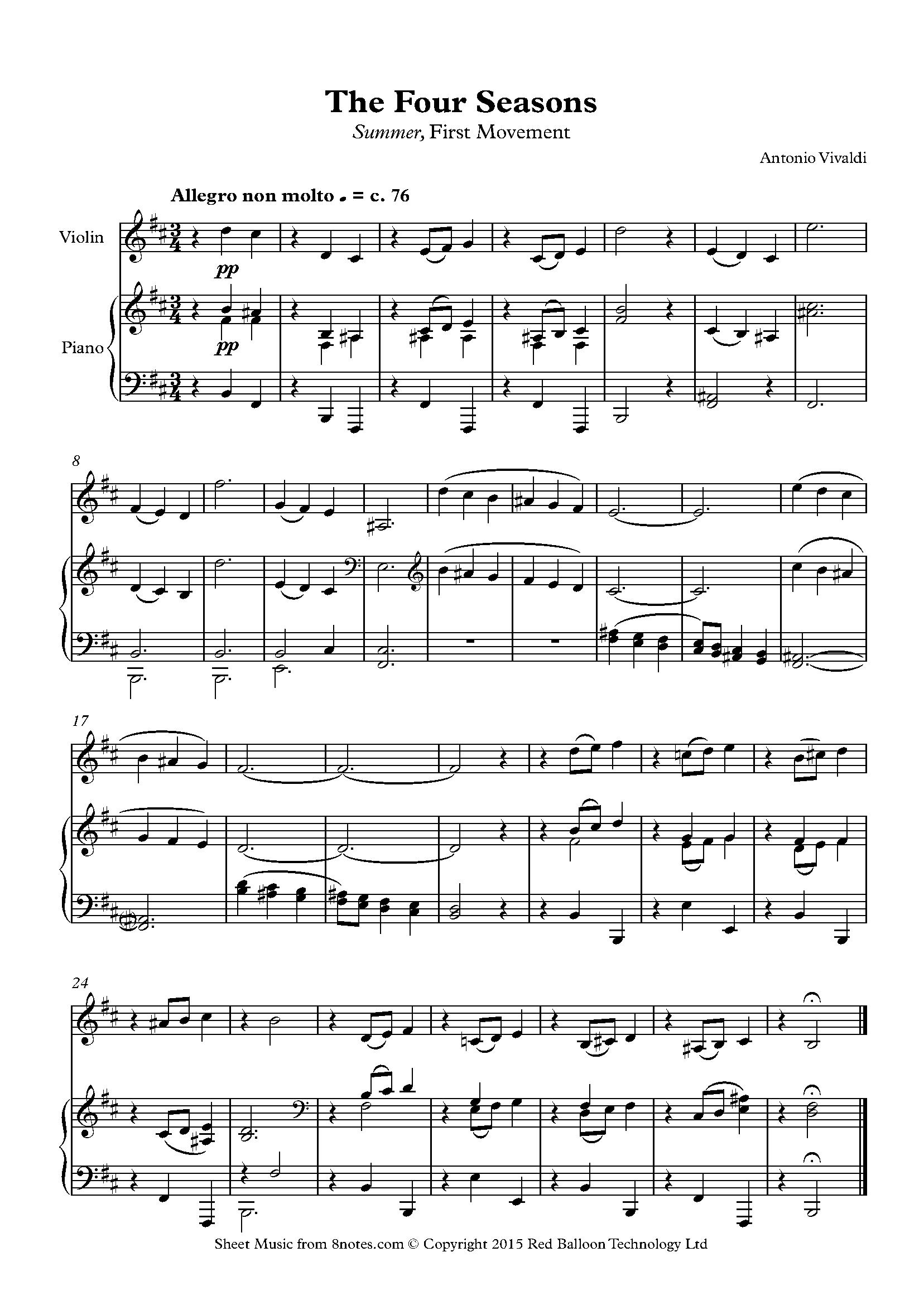 Verano vivaldi partitura violin pdf