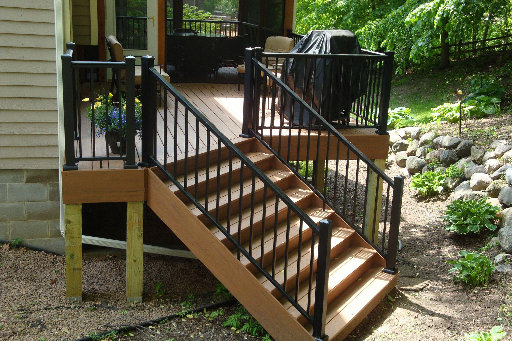 Aluminum Railing Kit Series 100 Adjustable Stair Rail Exterior Stair Railing Exterior Stairs Outdoor Stair Railing