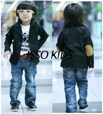 NEW ISSO KIDS Baby Toddler Boys Clothes Black Blazer Jacket Coat ...