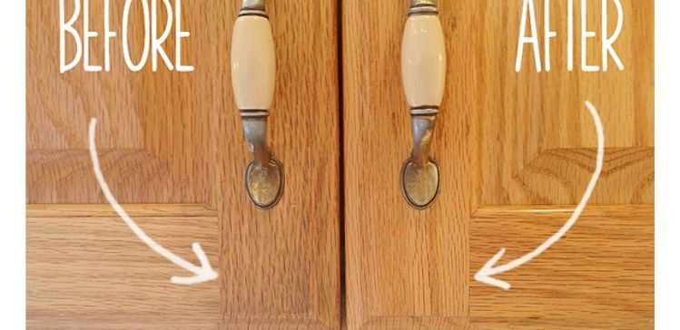 You only need 2 ingredients to make this effective cleaner:  -1 part vegetable oil -2 parts baking soda  Just mix your ingredients together with a spoon. Then, use a sponge, an old toothbrush or your hands to work the cleaner into the cabinet doors. Repeat on all of your cabinets to make them shine like new again!