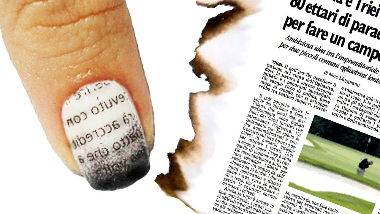 Nail Art Tutorial Giornale Bruciato - Burnt Newspaper Nails | Nails ...