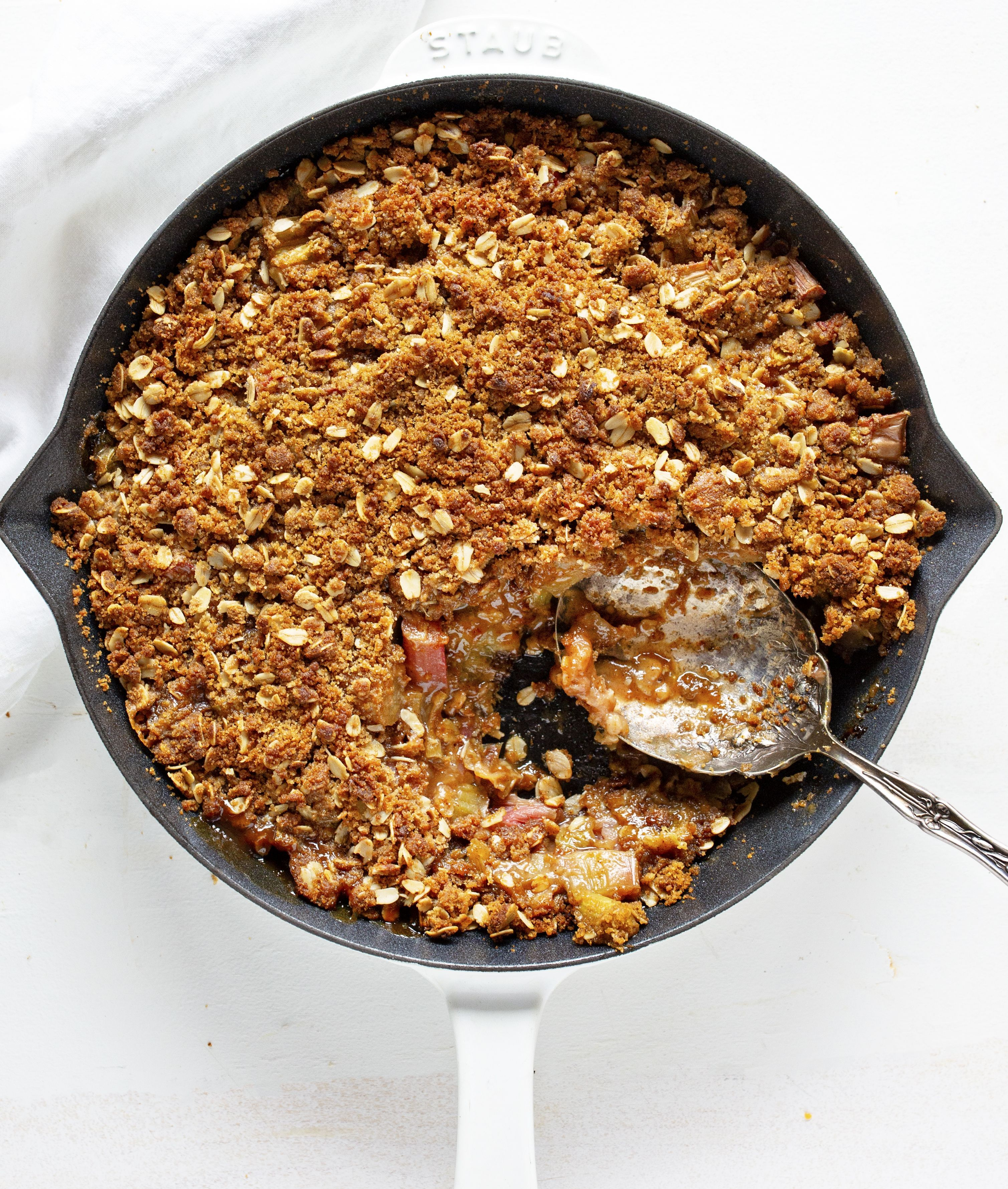 Seriously amazing rhubarb crisp is the perfect summer dessert! My secret crisp is what makes it amazing! amazing rhubarb crisp is the perfect summer dessert! My secret crisp is what makes it amazing!