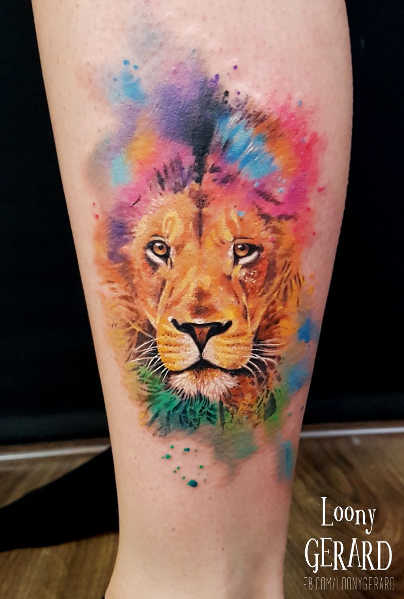 By Loonygerard Poland Lion Tattoo Watercolour Watercolor Lion