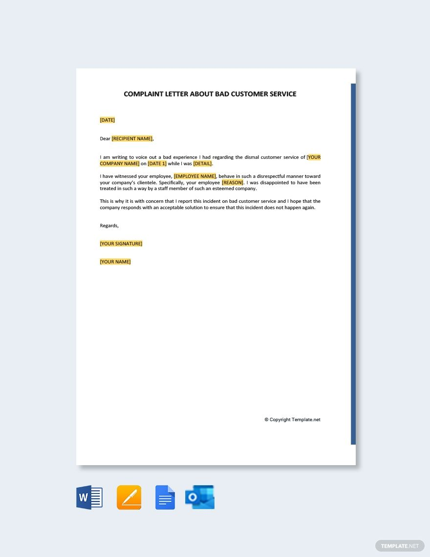 Free sample complaint letter about bad customer service