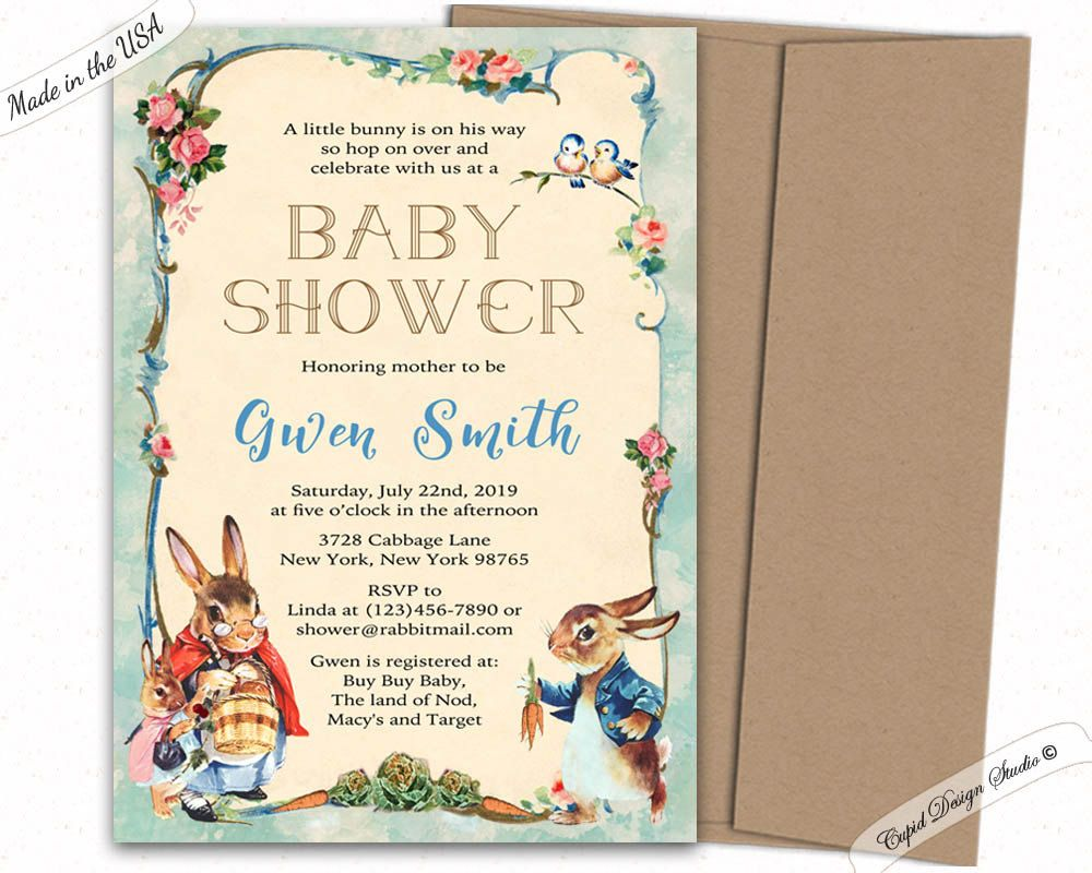 peter rabbit baby shower invitation - peter rabbit invitations ...