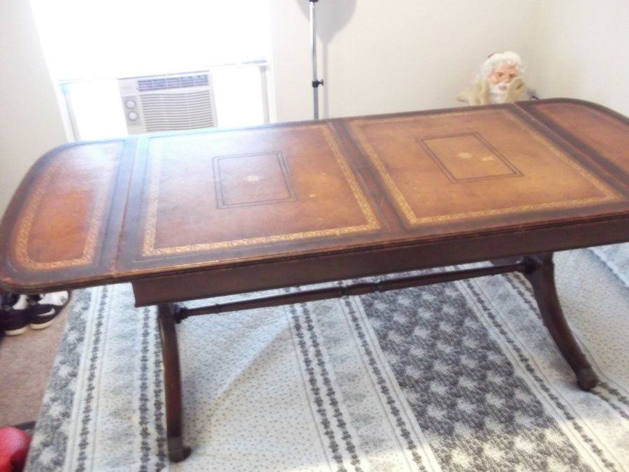 Have A Heritage Henredon Drop Leaf Coffee Table With A Leather Top Stamped