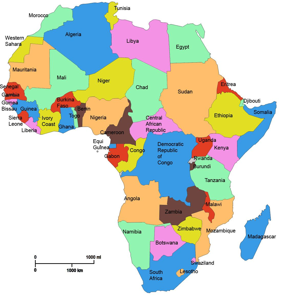 Map Of Africa With Country Names My
