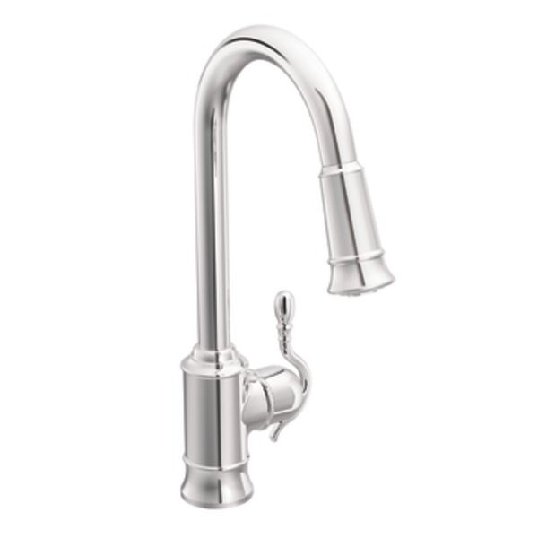 Woodmere Chrome One Handle High Arc Pulldown Kitchen Faucet   S7208C    Spray Reverts To