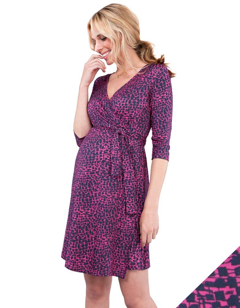 36ae7dcffc7 Pink Printed Maternity Wrap Dress in 2019