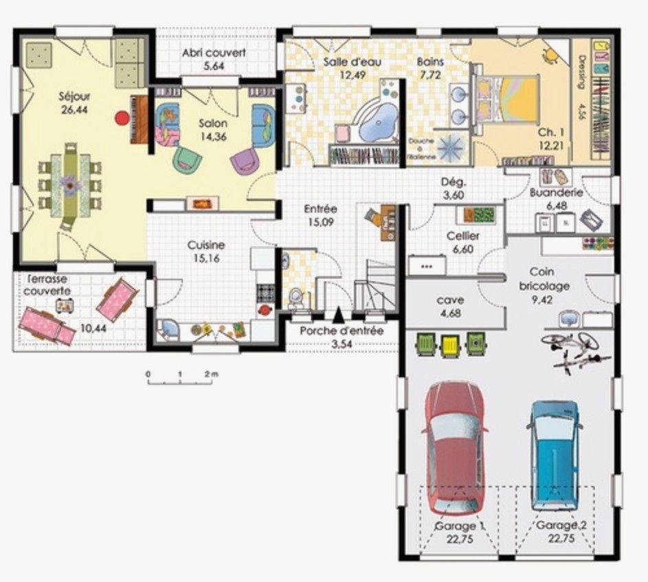 Plan Maison Plain Pied 200m2 Luxe Plan De Maison Plain Pied Moderne Avec Garage Of Plan Maison ...