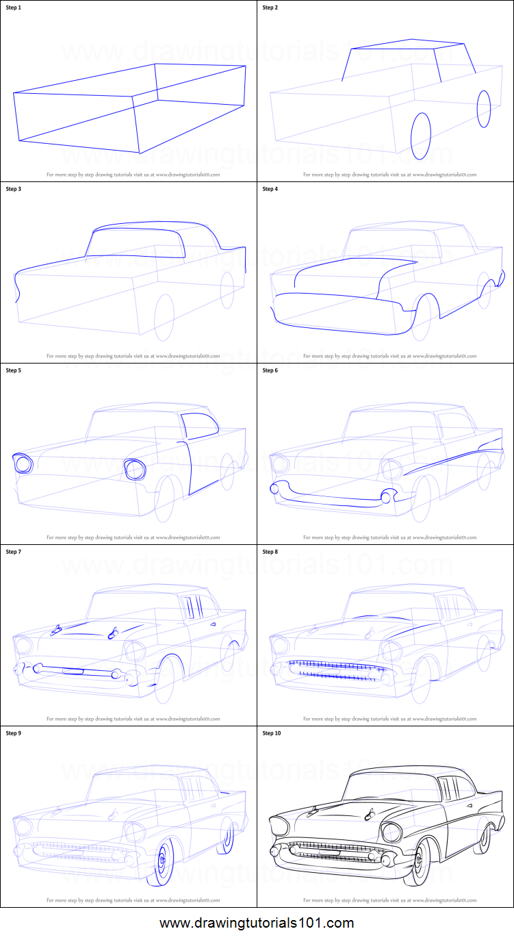 How to Draw a 1957 Chevy Bel Air printable step by step drawing sheet : DrawingT…