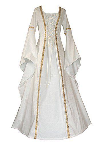 1c3ffa3fa8 Ruanyu Women Fashion Medieval Dress Lace Up Vintage Floor... https