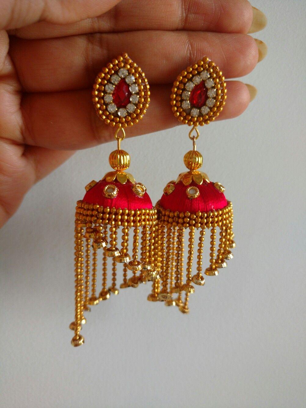 305aa7e52 Ear ring Silk Thread Jumkas, Silk Thread Bangles Design, Silk Thread  Earrings, Silk