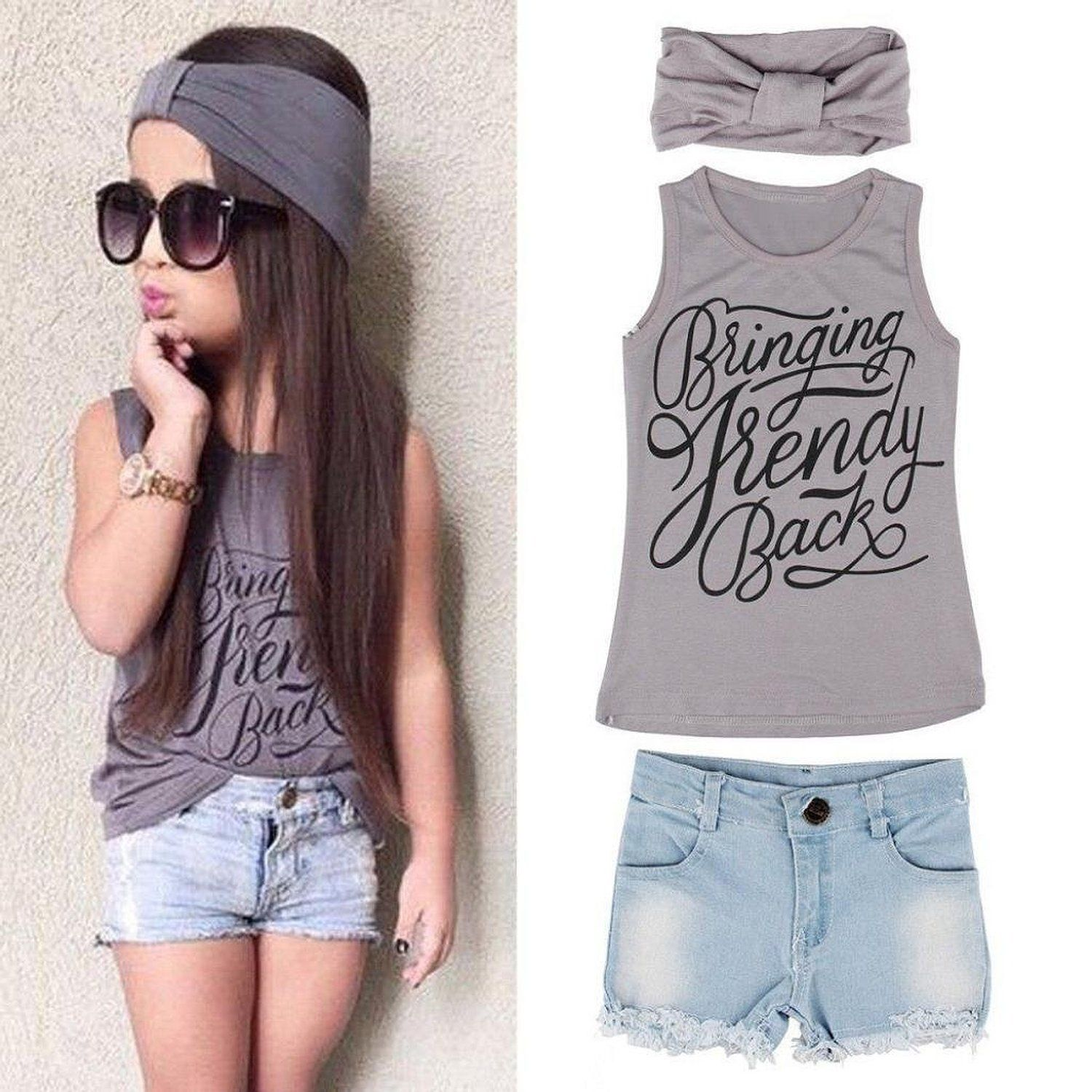 1fd59dfb60c7 Kids Girls Summer Cute Letters Print Vest Tops Denim Shorts Pants with  Headband. Material