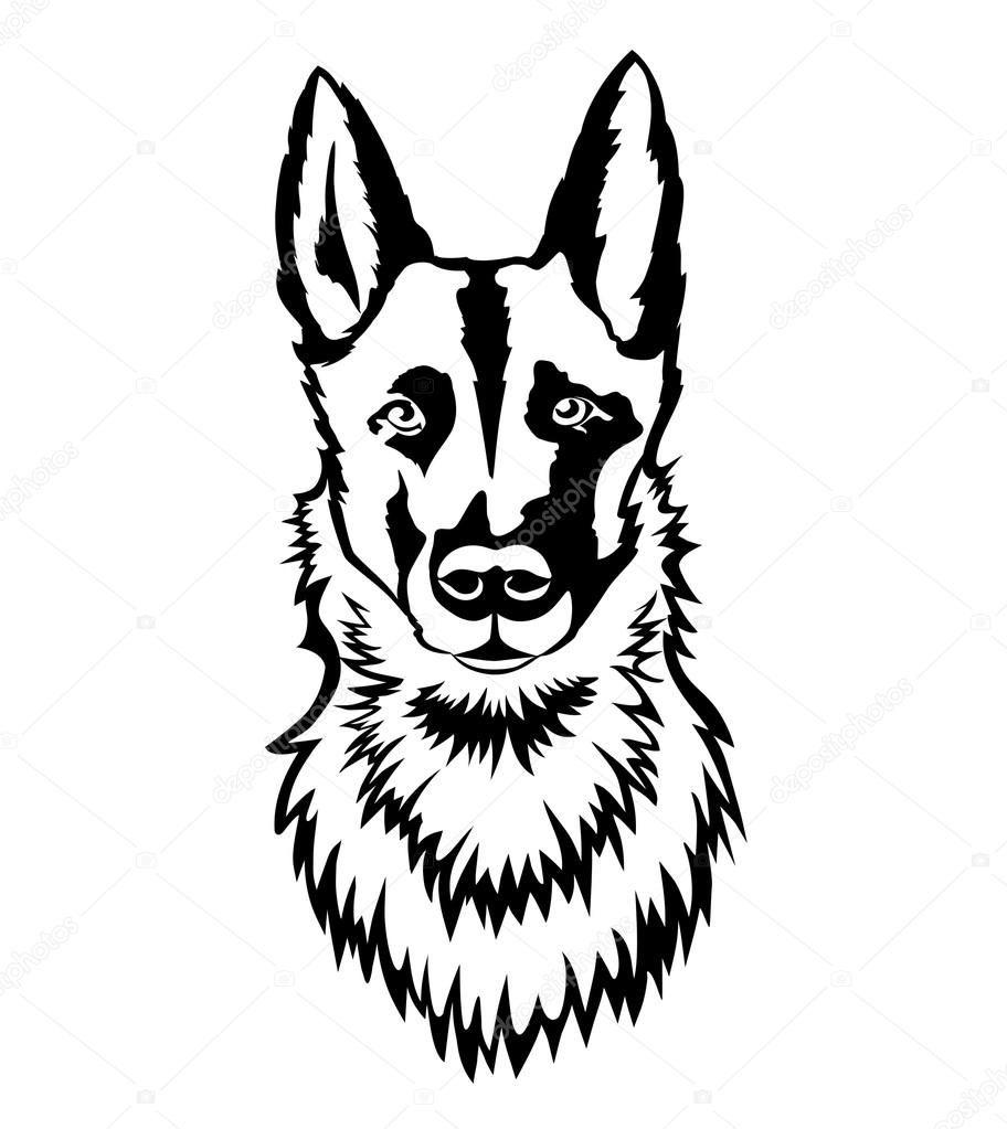 Pobieraj Portret Pasterza Pies Twarz Ilustracja Stockowa Dog Face Stock Illustration Moose Art