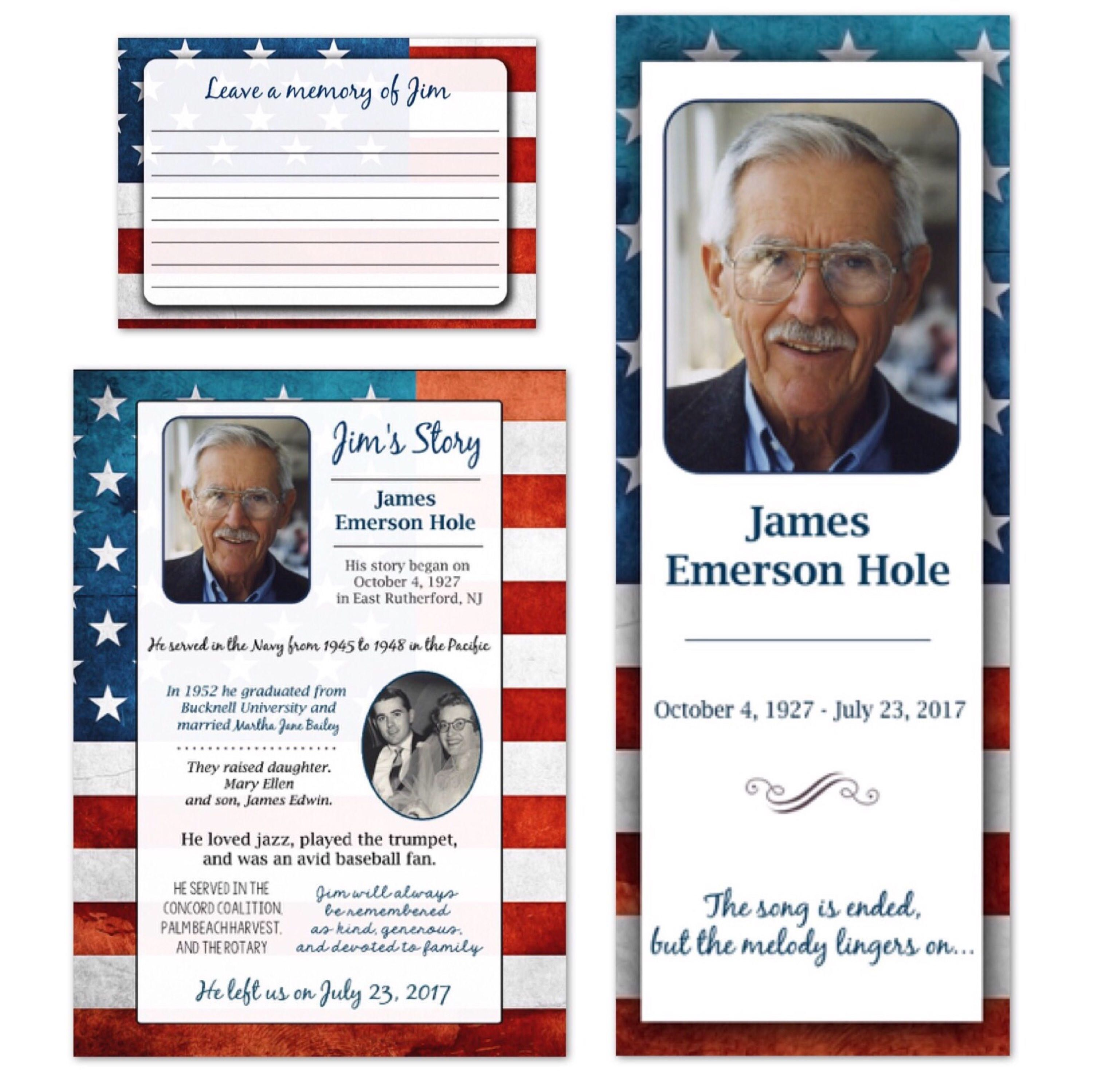 Celebration of life funeral memorial service program for Obituary pamphlet template