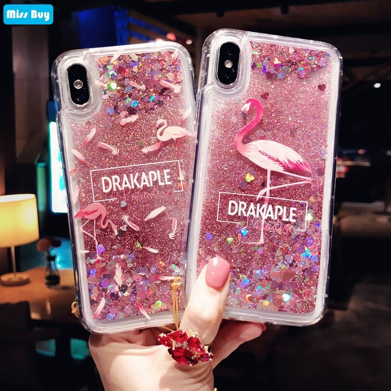 Water Liquid Case For Iphone Xs X 6 6s 7 8 Plus Xr Xs Max Whale Fish Glitter Stars Dynamic Soft Silicone Tpu Cover Half-wrapped Case