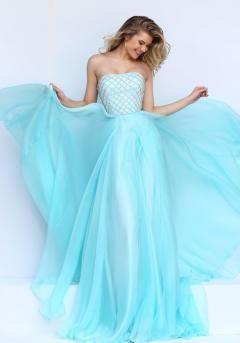 Light Blue Strapless Prom Dresses - Missy Dress
