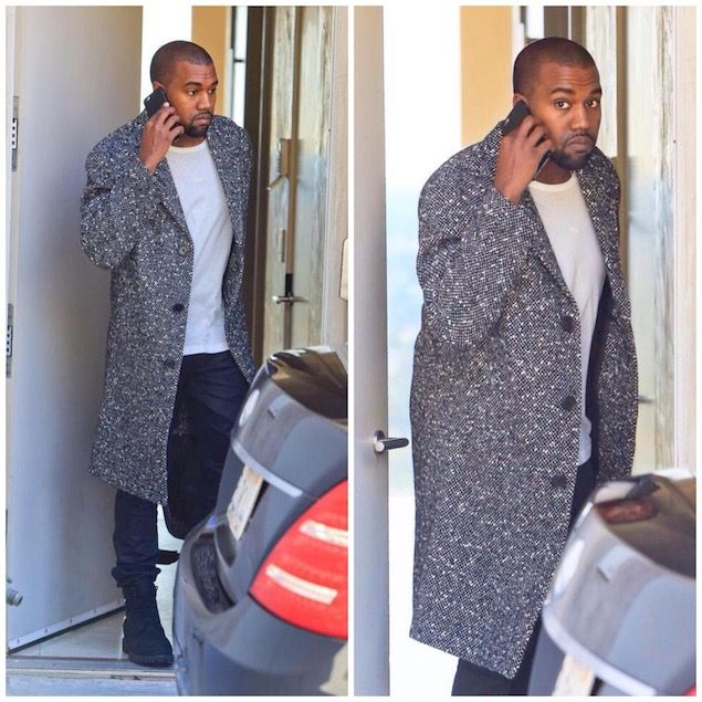 fab7dc8fbc0d8 Kanye West Wears Saint Laurent Grey Tweed Coat