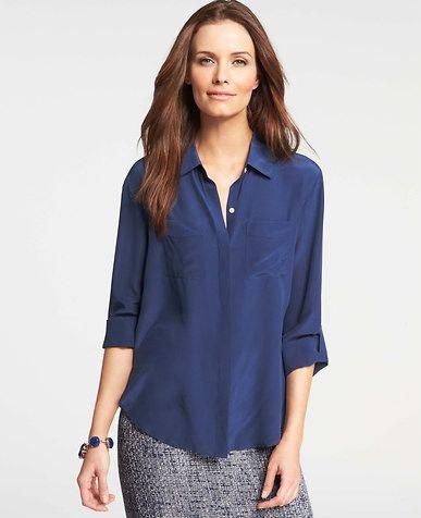 3485b44e3d860 Petite Silk Camp Shirt