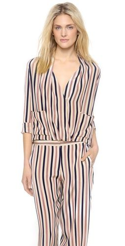 Malene Birger Shukti Striped Top FREE SHIPPING at shopbop.com. A loose silk By Malene Birger blouse with a nautical stripe. A draped crossover V neckline lends relaxed volume, and slouchy pockets accent the front. Piped back yoke and pleated back panel. Interior ties ensure a secure fit. Long sleeves and buttoned cuffs.