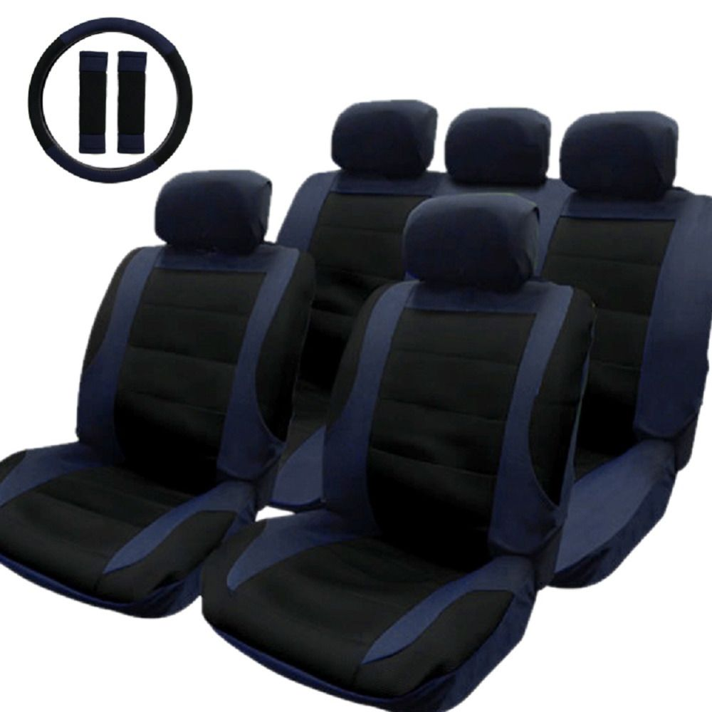 TIROL T21806 A New Car Seat Cover Black Blue 14pcs Set Covers